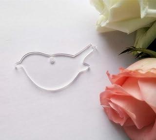 """15PCS of Blank Clear Acrylic Bird Key Chain Wedding Ornaments Laser Cut,Blank Acrylic Bird Kecyahin Accessory, Clear, 3.0"""""""