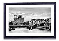 パリ、フランス、パリ、照明、橋、セーヌ川ノートルダム、家屋 - 木製の黒色のフォトフレーム - 壁の絵 壁掛け ソファの背景絵画 壁アート写真の装飾画の壁画 - 白黒 - (50cmx35cm)