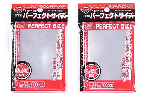 Fundas para Cartas de Juego Magic/Pokemon KMC Perfect Size - 200 Fundas (2 Paquetes de 100) Importación de Japón - Made in Japan
