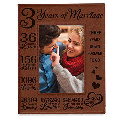 KATE POSH 3rd Anniversary Gifts, 3rd Wedding Anniversary, 3 Years Anniversary, Three Years of Marriage, Third Anniversary 2018-2021 Engraved Rawhide Leather Picture Frame (5x7 Vertical)