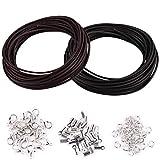 WXJ13 Cordón de cuero auténtico, 10 metros, 2 mm de ancho, cordón de cuero negro y café y 150 piezas de joyería de hallazgos de collar de cuerda para hacer joyas, pulseras