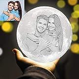 ACED Lampada luna 3D stampata personalizzata con foto incisa, Globo luce lunare personalizzato LED con Immagine, 3 colori luce notturna luna personalizzat lampada foto Regali personalizzata, 18CM