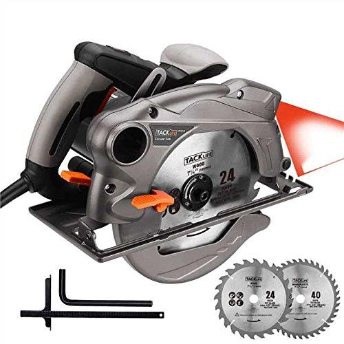 TACKLIFE Sierra Circular, 1500W, 2 Cuchillas de 185 mm (24T y 40T), Guía Láser, Protector de Metal