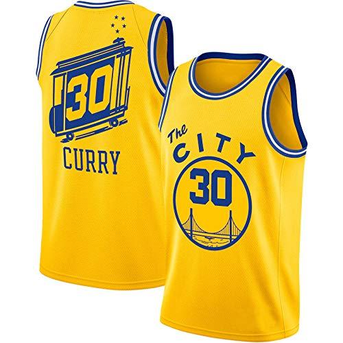 Curry # 30 - Camiseta de baloncesto para hombre, diseño de guerreros al aire libre, manga corta, con bordado de malla, color amarillo, XL