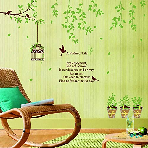 whmyz Wall Stickers Flowers Flower Rattan Self-adhesive Removable Wall Stickers Green Potted Bird Cage 60 * 90