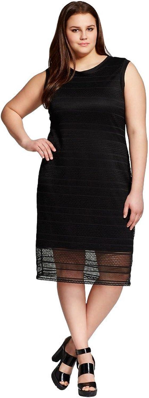 Vanity Room Women's Plus Size Mesh Sheath Dress w Binding Detail