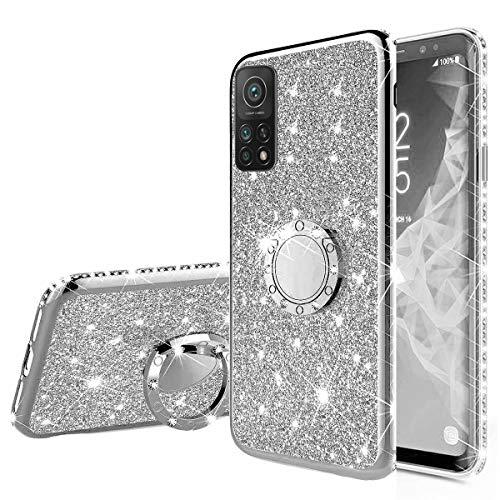 Nadoli Glitzer Hülle für Xiaomi Mi 10T Pro,Kristall Diamant Strass Bumper mit 360 Ring Kickstand Silikon Schutzhülle Handyhülle Frauen Mädchen für Xiaomi Mi 10T Pro,Silber