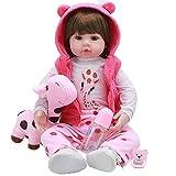 Reborn Baby Girl Doll, Cuerpo Suave Lindo Smiley Bebé Muñeca Realista Saskia Reborn Baby Muñecas Muñecas Muñecas de Silicona Completo Muñecas, Cuidado Easy Lavable Juguete, Regalos para niños