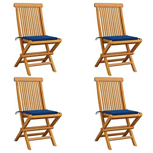 vidaXL - 4 sillas de jardín de madera maciza de teca con cojines, sillas de terraza, sillas de comedor, sillas de patio, balcón exterior azul