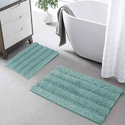 KGORGE Bath Mats Shower Rugs - Shaggy Rug Set Slip-Resistant Absorbent Microfiber Floor Mat Strong Underside Washable for Tub Entrence Living Room, Eggshell Blue, 20 x 32 + 17 x 24, 2 Pcs