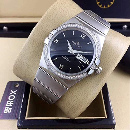 LKYH Klassische Armbanduhr Herren Silber Schwarz Weiß Automatisch Mechanisch Edelstahl Saphir Uhren Diamanten Lünette Rom Glas Rückseite7