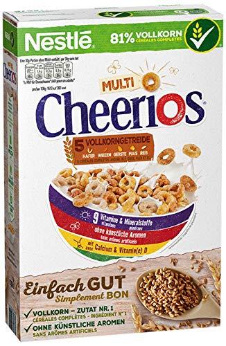 Nestlé Multi Cheerios, knusprige Ringe aus Weizen, Mais, Hafer & Gerste, Cerealien zum Frühstück, mit Milch & Joghurt genießen (1 x 375 g)