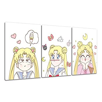 RINWUNS Canvas Wall Art Sailor Moon Wall Painting Poster Prints on Canvas Anime Girls Modern Home Decor No Frame Artwork Picture for Living Room/Bedroom - 12x16.5inch 3PCS  Only Canvas
