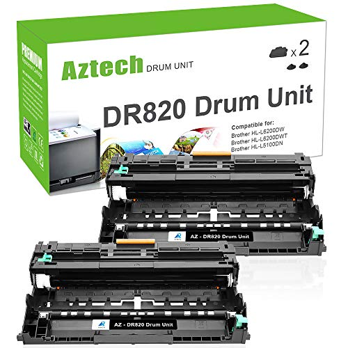 Aztech Compatible Drum Unit Replacement for Brother DR820 DR-820 (Black, 2-Packs)