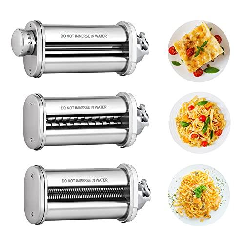 Nudelvorsatz für BOSCH Küchenmaschine, Zubehör für BOSCH MUM 2&5 Serie Küchenmaschine, 3 Stück Nudelmaschine Zubehör, Pastawalze für Spaghetti Fettuccine, COFUN Pastamaschine Aufsatz für BOSCH