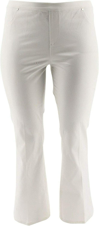 Halston Studio Stretch Bootcut Pull-on Pants A289387 White