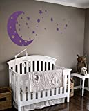 Moon and Stars Night Sky Vinyl Wall Art Decal Sticker Design for Nursery Room DIY Mural Decoration (Violet, 30x65 inches)