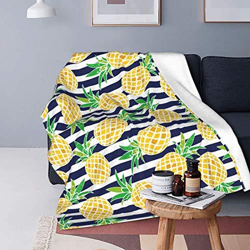 Mantas suaves y cálidas a rayas de piña, mantas súper suaves, sofás de cama y mantas de lujo para viajes (50 pulgadas x 40 pulgadas, 60 pulgadas x 50 pulgadas, 80 pulgadas x 60 pulgadas)