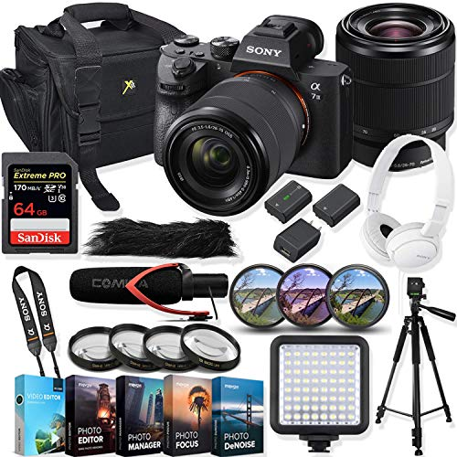 Sony Alpha a7 III Mirrorless Digital SLR Camera with 28-70mm Lens Kit + Video Accessory Bundle with 64GB Extreme Pro Memory Card