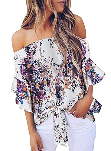 Asvivid Womens Bohemain Floral Printed Off The Shoulder Shirt Bell Sleeve Tops Ladies Self Tie Summer Blouse L Purple