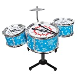 Invero Compact 4 Piece Mini Desk My First Drum Set Kit - Fun Educational Musical Instrument for all Children's Kids - Ideal for Playrooms, Bedrooms or Office Novelty Toy (39 x 20 x 32 cm)