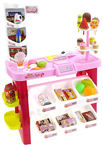 PowerTRC Luxury 40 Piece Dessert Shop Play-Set | Pretend Play Food | Kids Food Stand