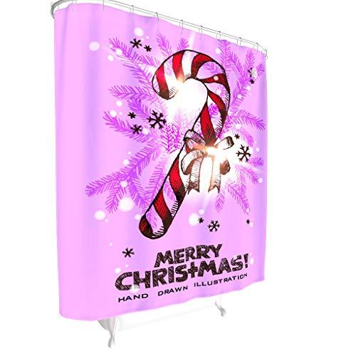Dofeely Leben Natürlich Weihnachten Muster Duschvorhang Farbfest hochwertige Qualität Shower Curtain Natürlich Badewannenvorhang mit Ringe White 200x200cm