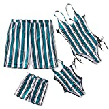 IFFEI Family Matching Swimwear One Piece Bathing Suit Striped Hollow Out Monokini Mommy and Me Beachwear Men: M Green