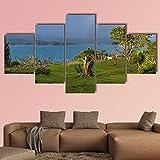 NNNLX Cuadro sobre Lienzo - 5 Piezas - Lago arenal en Costa Rica - Impresión En Lienzo - Impresión Pinturas Murales Decor Dibujo con Marco para Aniversario
