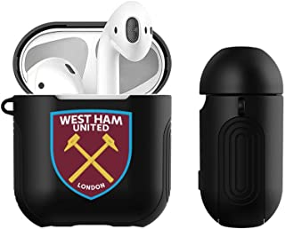 Head Case Designs Official West Ham United FC Stripes Crest Logo Black Hard Cover with Silicone Grip Compatible for Apple AirPods Charging Case