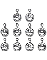 Toyvian 10Pcs Halloween Charm PendentTibetan Style Pumpkin Craft Alloy Collector For DIY Necklace Bracelet Jewelry Findings Silver