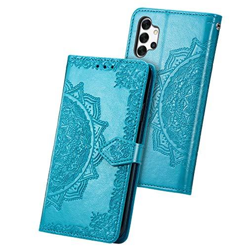 Fertuo Funda para Samsung Galaxy A32 5G, Carcasa Libro con Tapa de Cuero Piel con Ranuras de Tarjeta, Soporte, Cierre Magnético [Mandala] Wallet Case Flip Cover para Samsung Galaxy A32, Azul