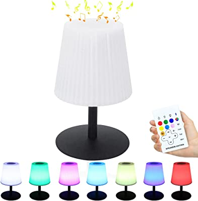 uuffoo Bleutooth Speaker Table Lamp, LED Night Light with Wireless Speaker, Rechargeable Portable Dimmable Smart Bedside Table Speaker Outdoor Mood Lamp with Remote for Bedroom, Living Room