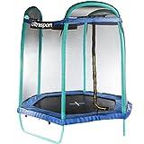 Ultrasport Gartentram-/Kindertrampolin mit niedriger Einstiegshöhe, Komplettset inkl. Sprungmatte mit UV-Beschichtung, Sicherheitsnetz, gepolsterten Stahlbügeln & Randabdeckung, Sechseck 213 cm