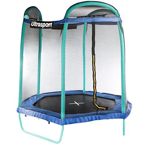 Ultrasport Trampoline de jardin Jumper, certifié TÜV Nord GS, kit complet pour trampoline avec tapis de saut, filet de sécurité, poteaux du filet et revêtement des bords rembourrés, 4 saisons