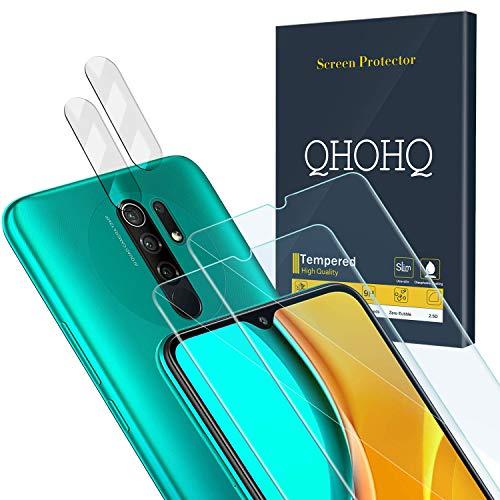 QHOHQ 2 Stück Schutzfolie für Xiaomi Redmi 9 mit 2 Stück Kamera Schutzfolie, Panzerglas Membran [9H Festigkeit] - HD - [Anti-Kratz]