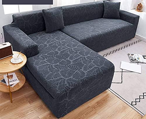 Fundas de sofá seccionales elásticas, 2 piezas de funda de sofá en forma de L, fundas de sofá extra suaves y gruesas en forma de L, con dos fundas de almohada-Gris oscuro-En forma de L de 4 + 4 plaza