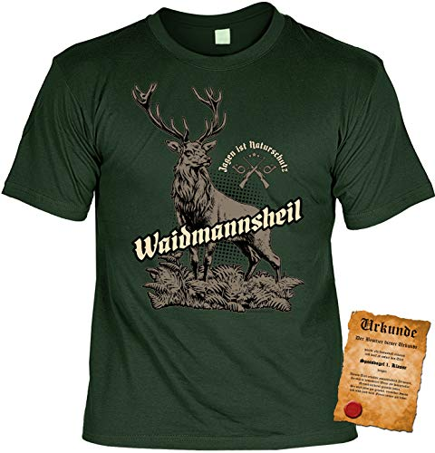 Jäger Tshirt, Spruch - Motiv Jagdsport : Jagen ist Naturschutz Waidmannsheil - Bekleidung Jäger, Jagd, Hirsch-Motiv Gr: XL