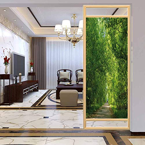 Película de vidrio decorativa para ventana de privacidad, paisaje fresco bosque dosel árboles sobre sendero en una película de vidrio fácil de instalar y reutilizar, 23.6 x 78.7 pulgadas de ancho