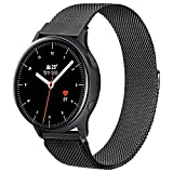 Booyi 20mm Cinturino Compatibile per Samsung Galaxy Watch Active/ Active 2 40mm/44mm, Cinturino in Acciaio Inossidabile per Samsung Gear Sport / S2 Classic / Watch 3 41 mm / Garmin Vivo Active 3