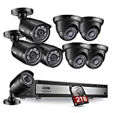 ZOSI 1080p 16 Channel Security Camera System, H.265+ 1080N 16 Channel DVR with Hard Drive 2TB and 8 x 1080p Weatherproof CCTV Bullet Dome Camera Outdoor Indoor, 80ft Night Vision, Motion Alerts