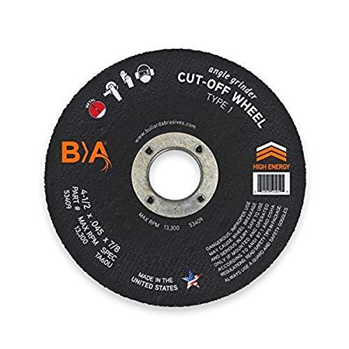 Bullard Abrasives 53409 High Energy Performance, TA60OU-BF, T1 Angle Grinder Cut-Off Wheel, 4-1/2 x .045 x 7/8 (Pack of 25)