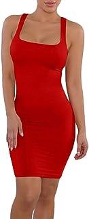 KESYOO Womens Sexy Bodycon Dress Midi Party Club Dress Basic Tank Dress