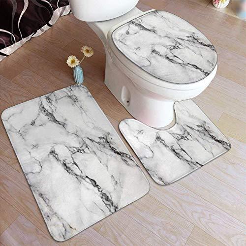 RedBeans Ensemble de 3 tapis de bain antidérapants en flanelle, gris pierre, texture marbre doux, tapis de douche et tapis de contour WC