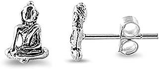 Buddha Stud Earrings .925 Sterling Silver