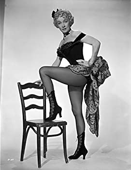 Marlene Dietrich standing One Leg in Black Lingerie with One Leg Stepping on Chair Photo Print  8 x 10