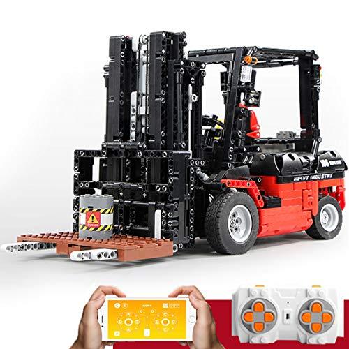 TETAKE Bausteine Gabelstapler mit Motor, 1/10 2.4 GHz Ferngesteuert Klemmbausteine Technik Gabelstapler - Konstruktionsspielzeug mit 1719 Teile - 42 x 16,5 x 21 cm