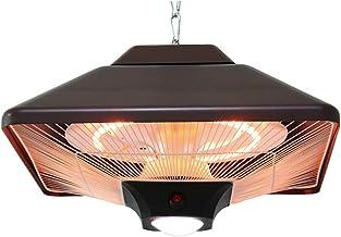 1000W/2000W Calefactor de Techo,Calefacción de Tubo Halógeno,Calentador Eléctrico Exterior con Luz LED et Control Remoto,IP44,Negro
