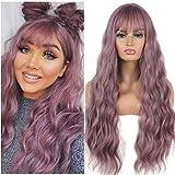 FVCENT 27 pulgadas de largo rizado mujeres niñas encantadora peluca sintética con flequillo (Púrpura claro)
