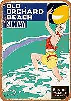 オールドオーチャードビーチ、ブリキサインヴィンテージ面白い生き物鉄の絵画金属板ノベルティ